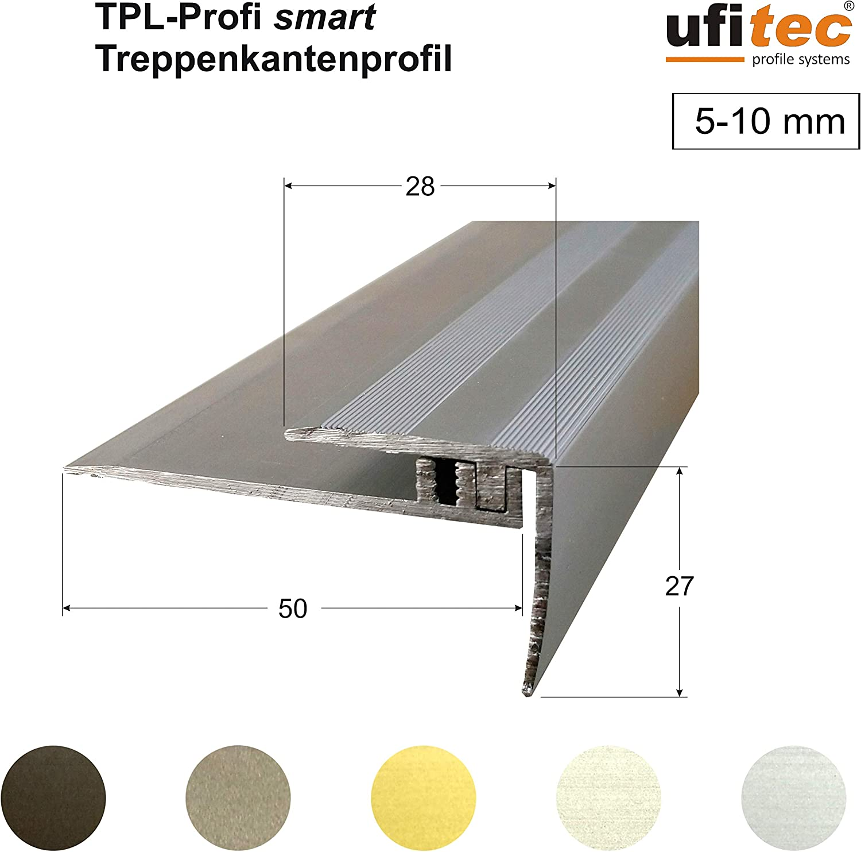 ufitec/® Profi Smart Profilsystem f/ür Vinylb/öden Dehnungsfugenprofil 45 cm breit | L/änge: 100 cm, Bronze Dunkel geeignet f/ür Belagsh/öhen von 5-9 mm ALU eloxiert
