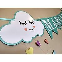 Banderín decorativo personalizado de nubes y corazones (Birthday banner)