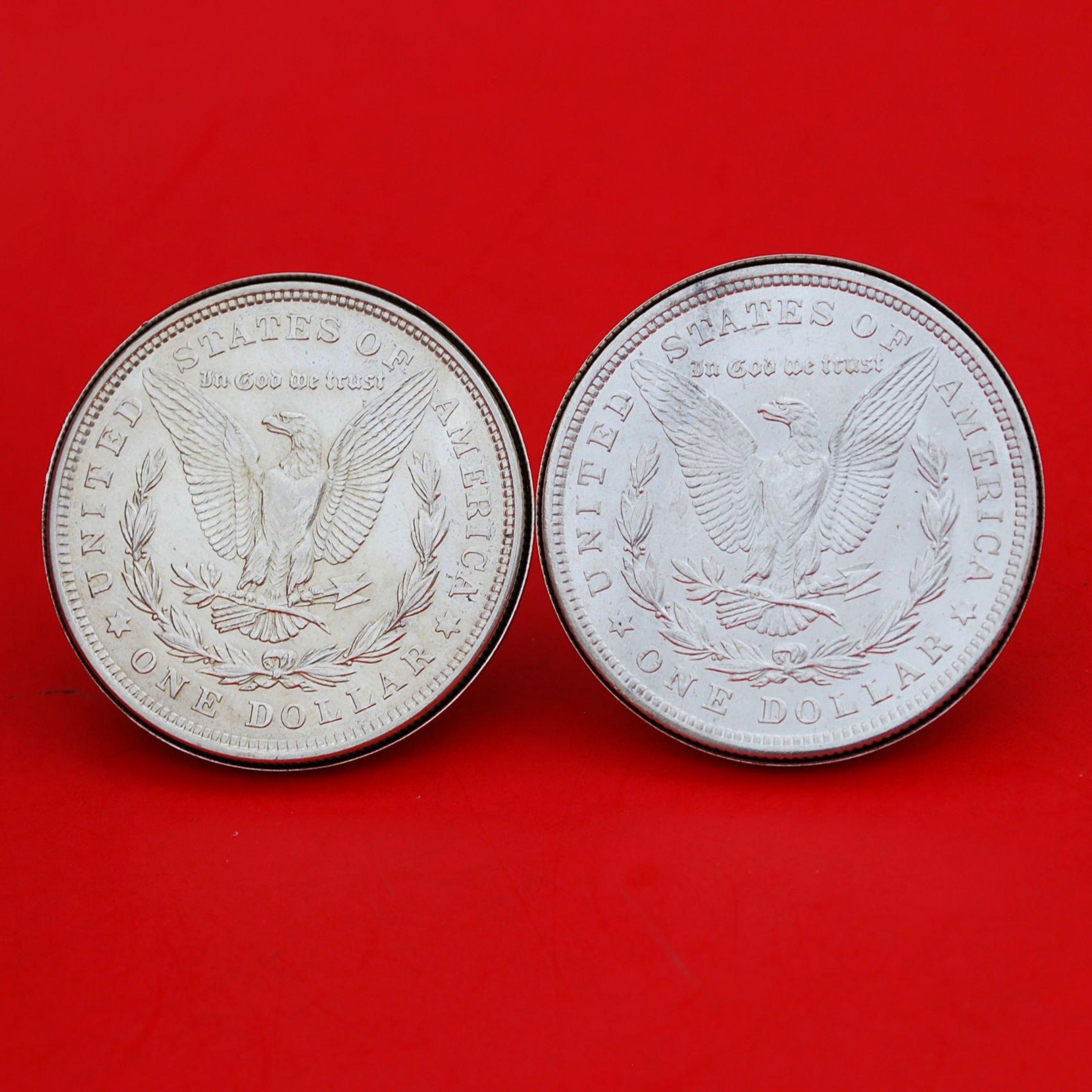 US 1921 Morgan Silver Dollar BU Uncirculated Silver Cufflinks NEW - REVERSE + REVERSE
