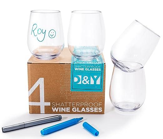 6 vasos de vino cristal irrompible Tritan 16 onzas. Elegante ...