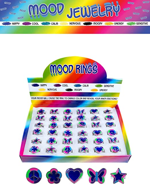 Amazon.com: Color Changing Mood Rings for Women, Girls, Kids | Assorted  Cute Critters, Mustache, Oval Flower Tears | 12 Piece Tray | Adjustable  Party Favors ...