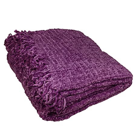 Just Contempo Chenille Throw Purple 40x40 Cm Amazoncouk Simple Purple Chenille Throw Blanket