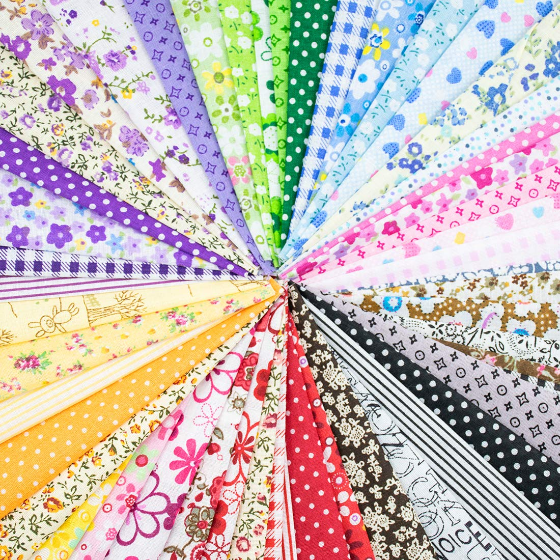 Foraineam 60 PCS Different Designs9.8'' x 9.8'' (25cm x 25cm) Cotton Craft Fabric Bundle Printed Patchwork Squares for DIY Sewing Quilting Scrapbooking by Foraineam (Image #3)