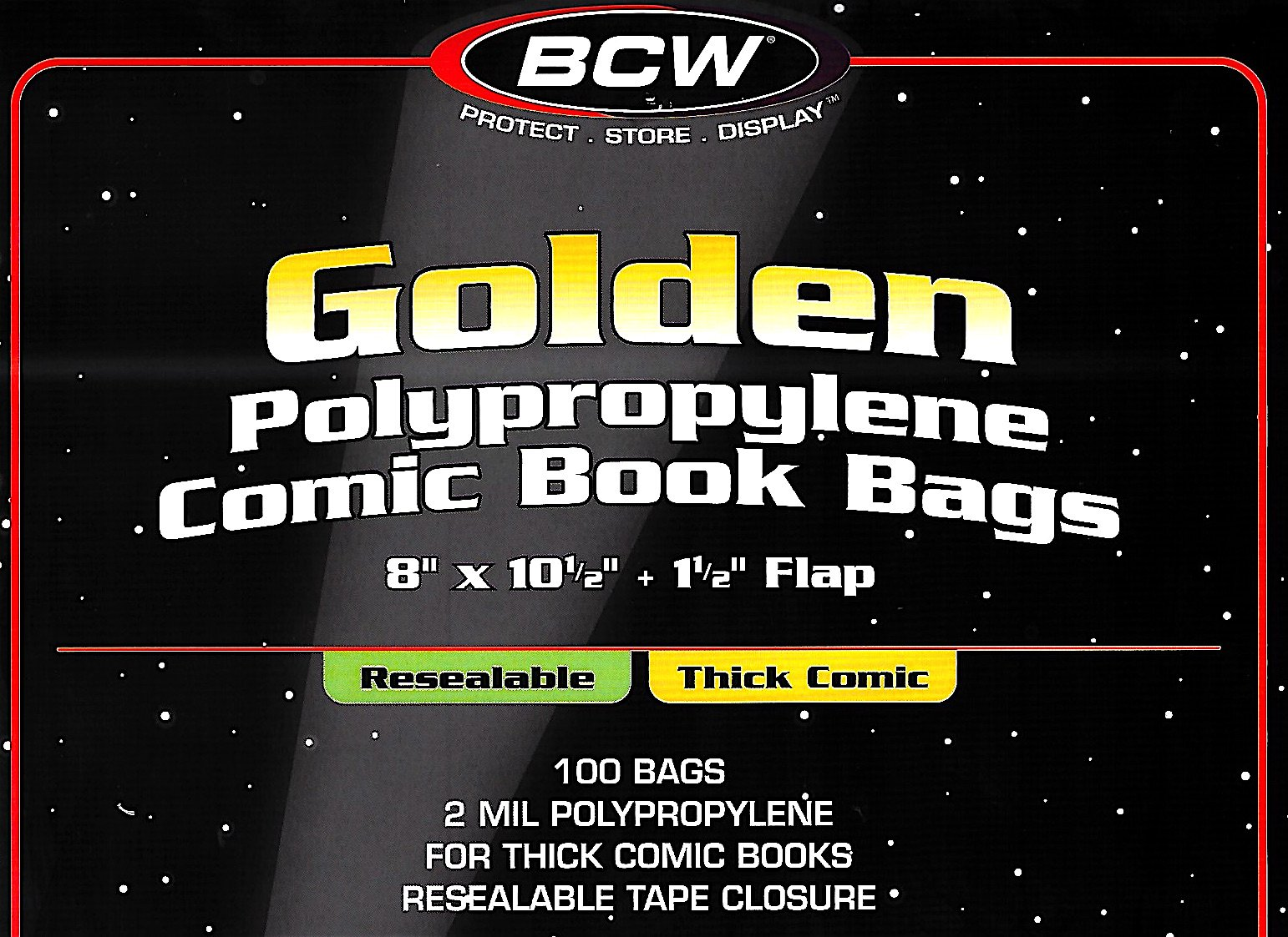 (100) Golden Age Resealable Thick Size Crystal Clear Comic Book Cover Bags BCW by BCW