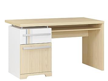 Gami titouan bureau tiroir porte imitation frêne et blanc