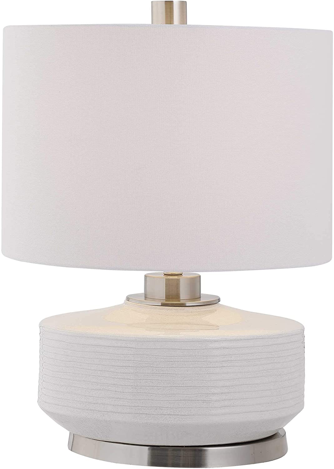 MY SWANKY HOME Luxe Fat Contemporary Striped Ceramic Table Lamp Gray Ivory Silver White Round