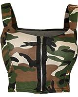 Womens Army Camouflage Print Zip Front Padded Crop Bralet Bra Top