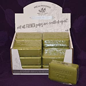 Pre de Provence Savon de Marseilles Olive Oil Soap - Case of 12 Bars,Green,250 Gram
