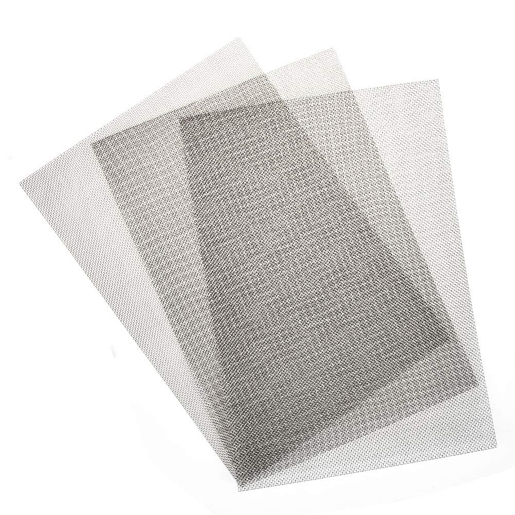 TIMESETL 3pcs Stainless Steel Woven Wire Mesh Rodent Proof 12x8-inch (30x21cm) Metal Mesh Sheet 1mm Hole Great for Air Ventilation - A4