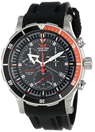 Vostok-Europe Mens Quartz Stainless Steel and Silicone Diving Watch, Color:Black (