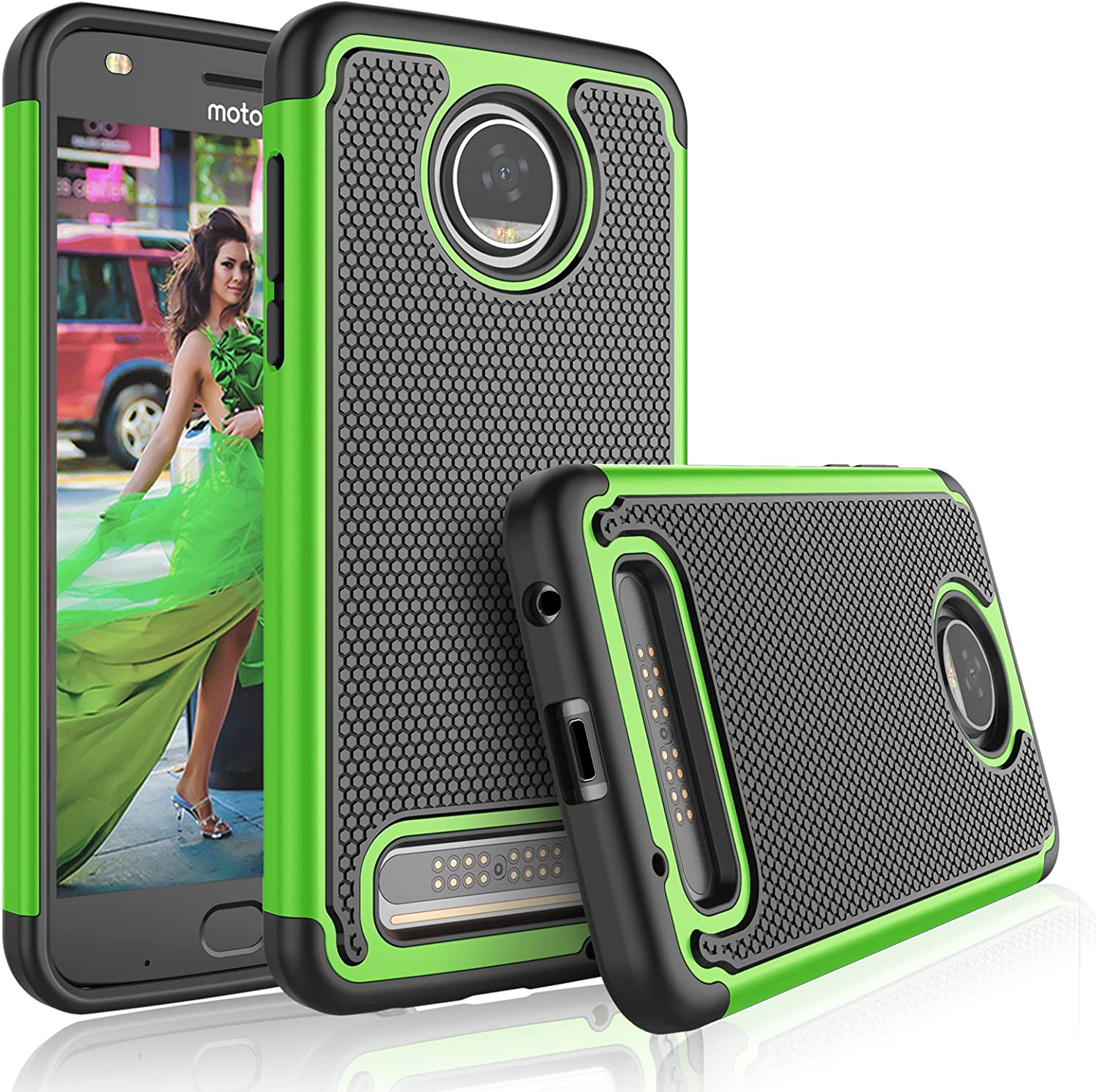 Tekcoo Moto Z2 Play Case, Tekcoo Motorola Z2 Play Droid Cute Case, [Tmajor] Shock Absorbing [Green] Rubber Silicone & Plastic Scratch Resistant Bumper Grip Hard Cases for Moto Z Play 2017 Cover