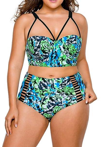 75b14a96875 LittleLittleSky Womens Sexy Boho Tropical Floral Print High Waist Plus Size  Bikini Swimsuits Two Piece Swimwear