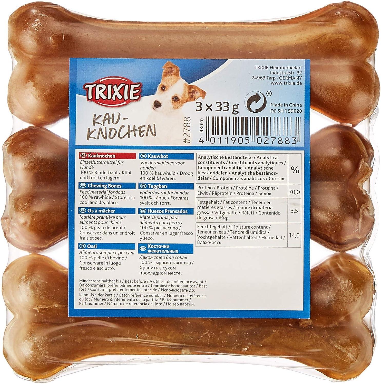 TRIXIE 3 Huesos Prensados Piel, 33 g, 11 cm, Envasado, Perro