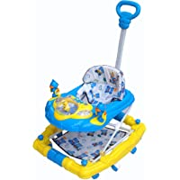 eHomeKart Musical Plastic Baby Walker with Adjustable Height Comfy 6-in-1 Activity with Rocker, Light and Parental Handle for Kids 9 Months + (Blue)