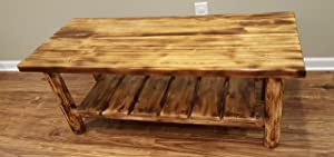 Midwest Log Furniture - Torched Cedar Log Coffee Table