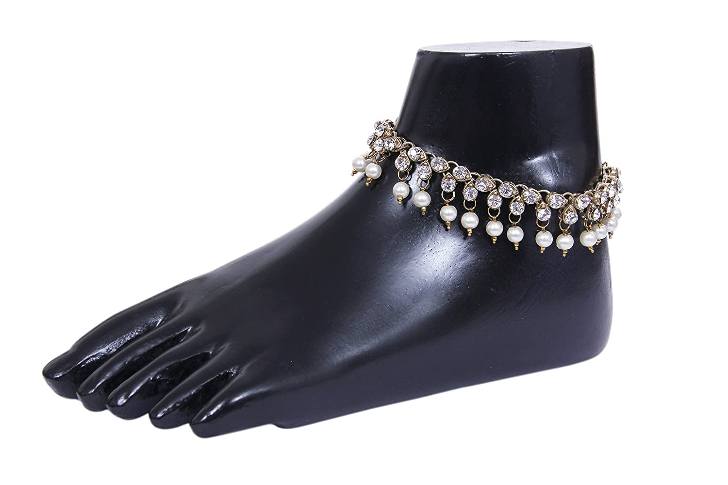 My Aashis Antique Traditional Pearl Cz Stone Look payal Anklet Pair
