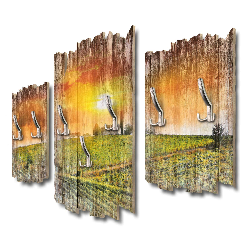 Kreative Feder Toskanapanorama Designer Wandgarderobe Flurgarderobe Wandpaneele 95 x 60 cm aus MDF DTGH107