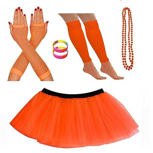 Redstar Fancy Dress Ensemble Bracelet fluo Tutu Jambières Gants en résille Collier de perles