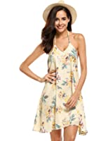 Meaneor Women's Floral Camisole Sexy Backless Beach Party Skater Dress
