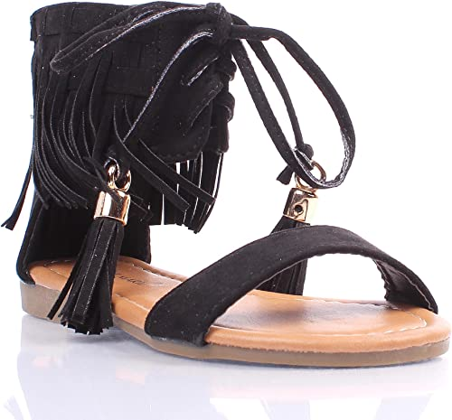 Tan Youth Size Casual Indian Style Fringe Kids Cute Girls Gladiators Sandals