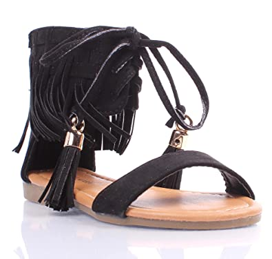 886f48ad059 Cute Youth Size Lace Up Indian Style Fringe Zipper Kids Cute Girls  Gladiators Sandals Casual Shoes