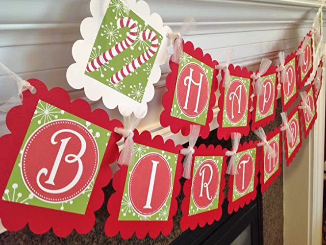 merry christmas happy birthday banner red and green snowflake backgrounds white accents party - Merry Christmas And Happy Birthday