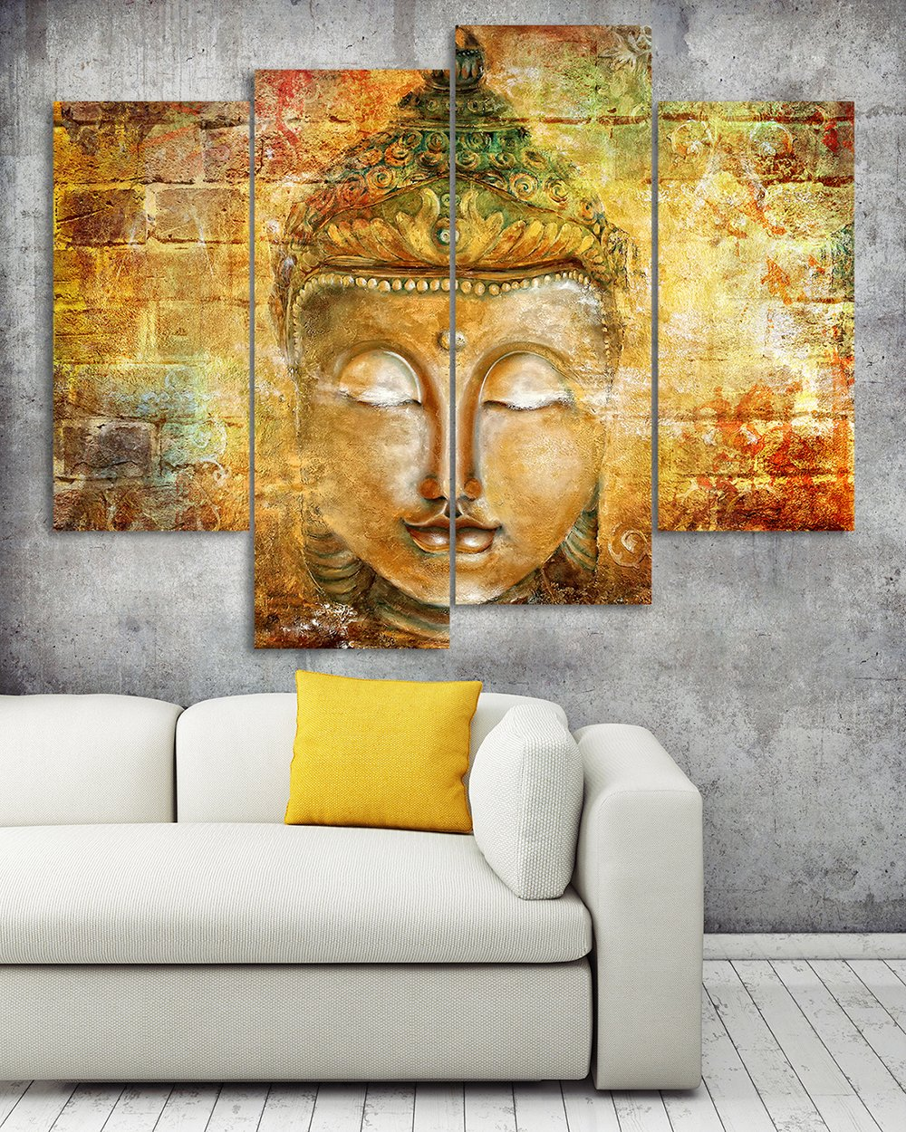 Amazon.com: DAXIPRI Buddha Wall Art Pure Hand Painted Framed Canvas ...