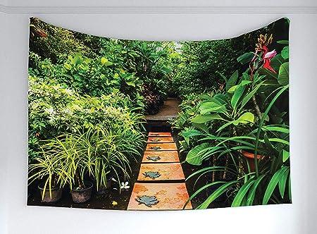 Soefipok Tapiz del jardín Zen, exuberante jardín con Plantas Tropicales y Sendero de Madera Tema de armonía con la armonía, Tapiz de Tela Decoración para el Dormitorio Sala de Estar Dormitorio: Amazon.es: