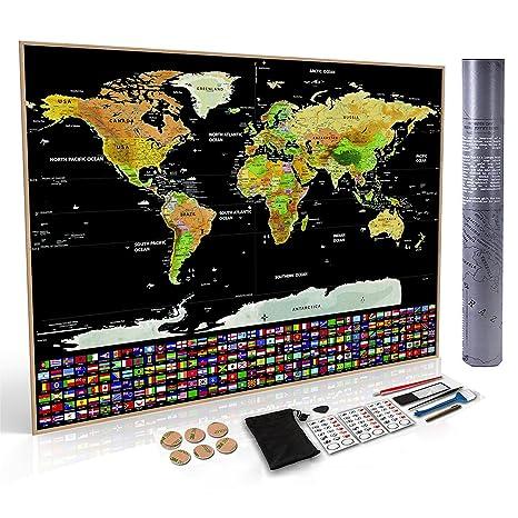 BONUS eBook Wond3rland Cartina Geografica del Mondo da Grattare con Paesi Delineati Set di Accessori Completo Mappa Poster di Alta qualit/à Idea Regalo per Viaggiatori /& Tracciatura di Viaggio