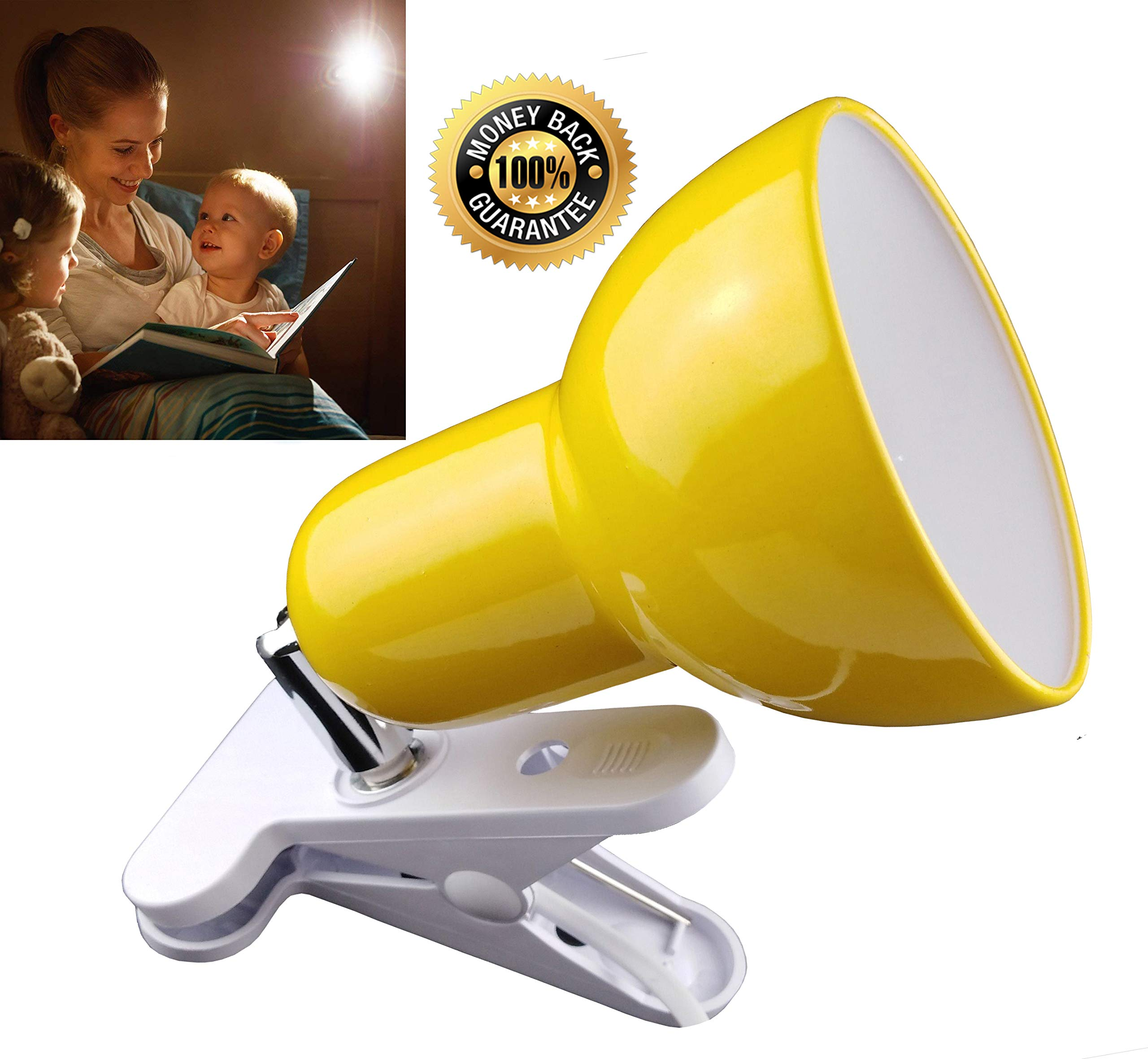 Clamp Light,360° Rotation Clip on Lamp Portable Book Reading Light,Clamp on Desk/Table/Bunk Bed/Cupboard Home Lighting, (Clamp Light, Seven Colors for Your Choice)''Yellow