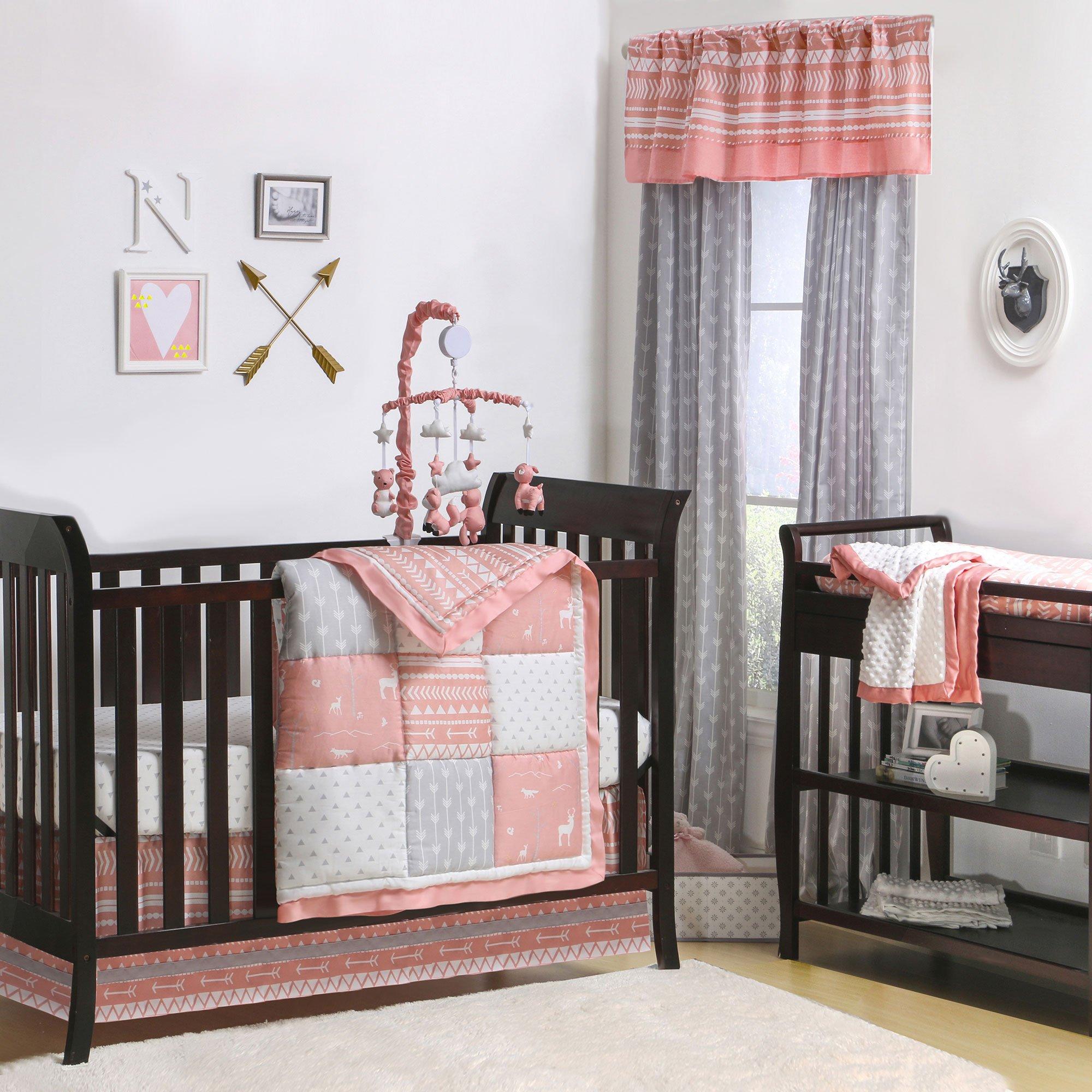 Woodland Pixie Coral and Grey Baby Crib Bedding - 11 Piece Sleep Essentials Set