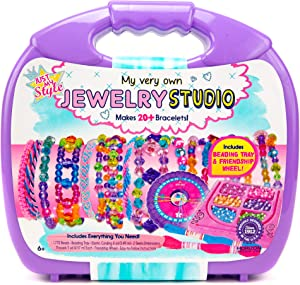 Just My Style My Very Own Jewelry Studio by Horizon Group Usa,DIY Personalized Bracelet Making Kit With 1700+ Beads & 11 Yd of Cording,Includes ABC Beads,Accent Beads,Beading Tray & More.Multicolored
