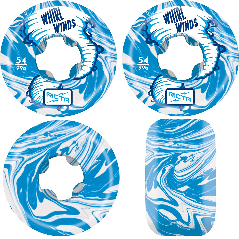 54mm Ricta Skateboard Wheels 54mm Whirlwinds 99A Blue//White Swirl Whirlwinds 99a