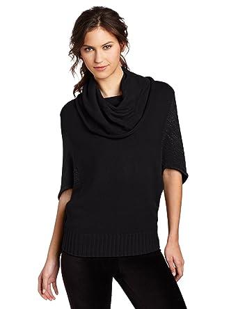 Lilla P Women's Oversized Cowl Neck Sweater, Black Lurex, X-Small ...