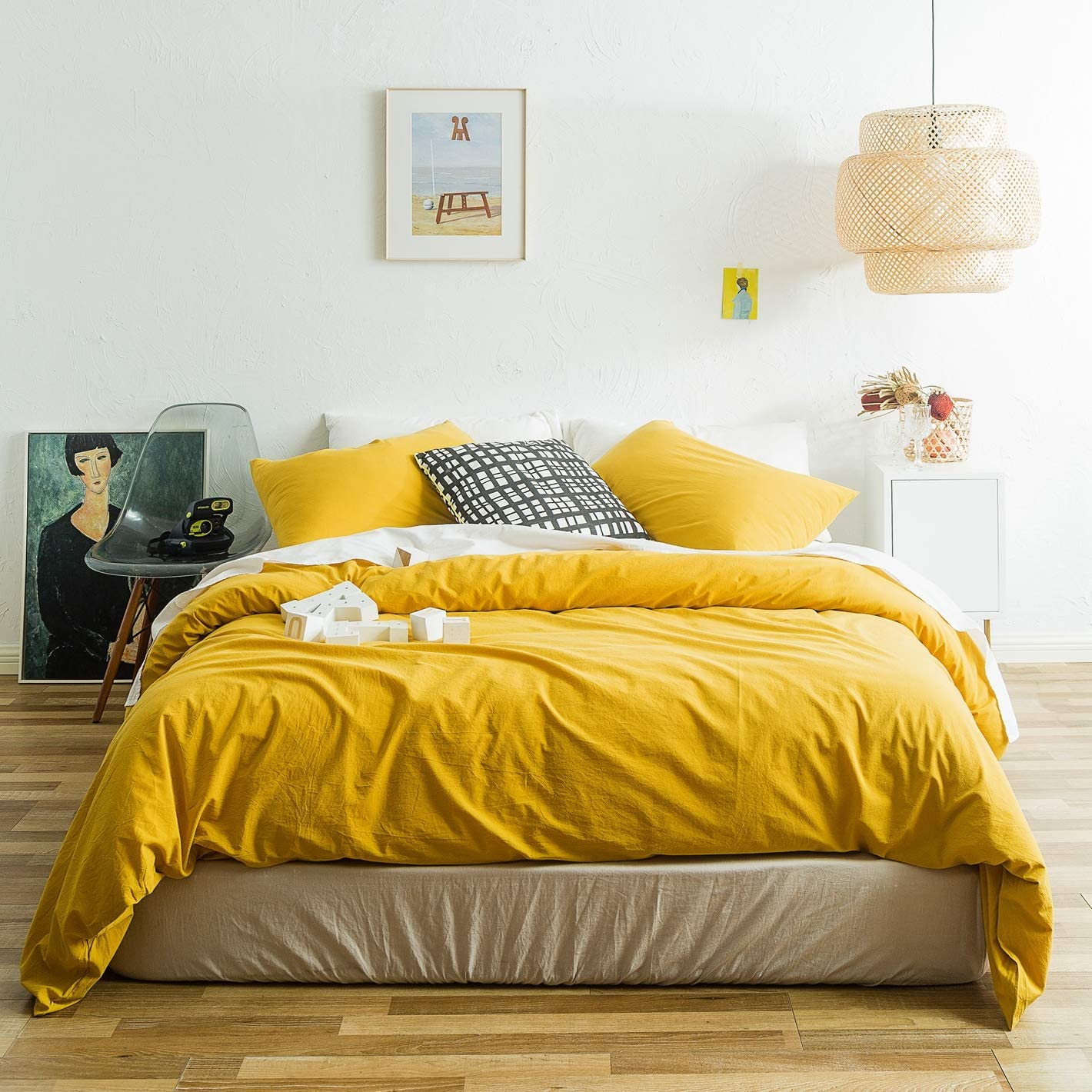 SUSYBAO 3 Piece Duvet Cover Set 100% Natural Washed Cotton Queen Size Yellow Bedding Set 1 Solid Duvet Cover with Hidden Zipper Ties 2 Pillowcases Luxury Quality Soft Comfortable Durable Warm