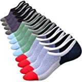 M&Z Mens Cotton Low Cut No Show Casual Ventilation Fresh Super Comfy Non-Slip Antibacterial Deodorization Socks