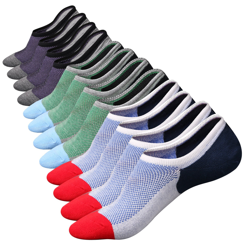 M&Z Mens Cotton Low Cut No Show Casual Crew Ankle Non-Slide Socks, 6 Pairs (Multicolor), One Size