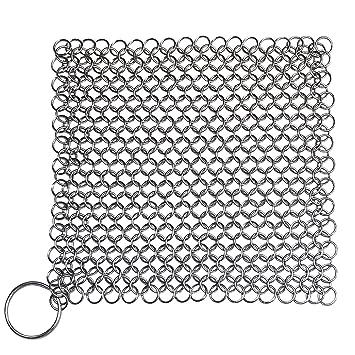 Hierro fundido sartén de hierro fundido de correo - Limpiador de cadena de acero inoxidable Estropajo: Amazon.es: Hogar