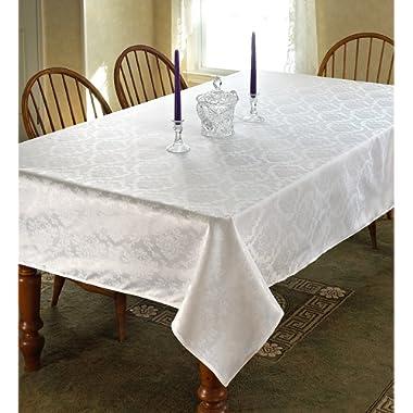 Violet Linen European Damask Design Oblong/Rectangle Tablecloth 60  x 120  White