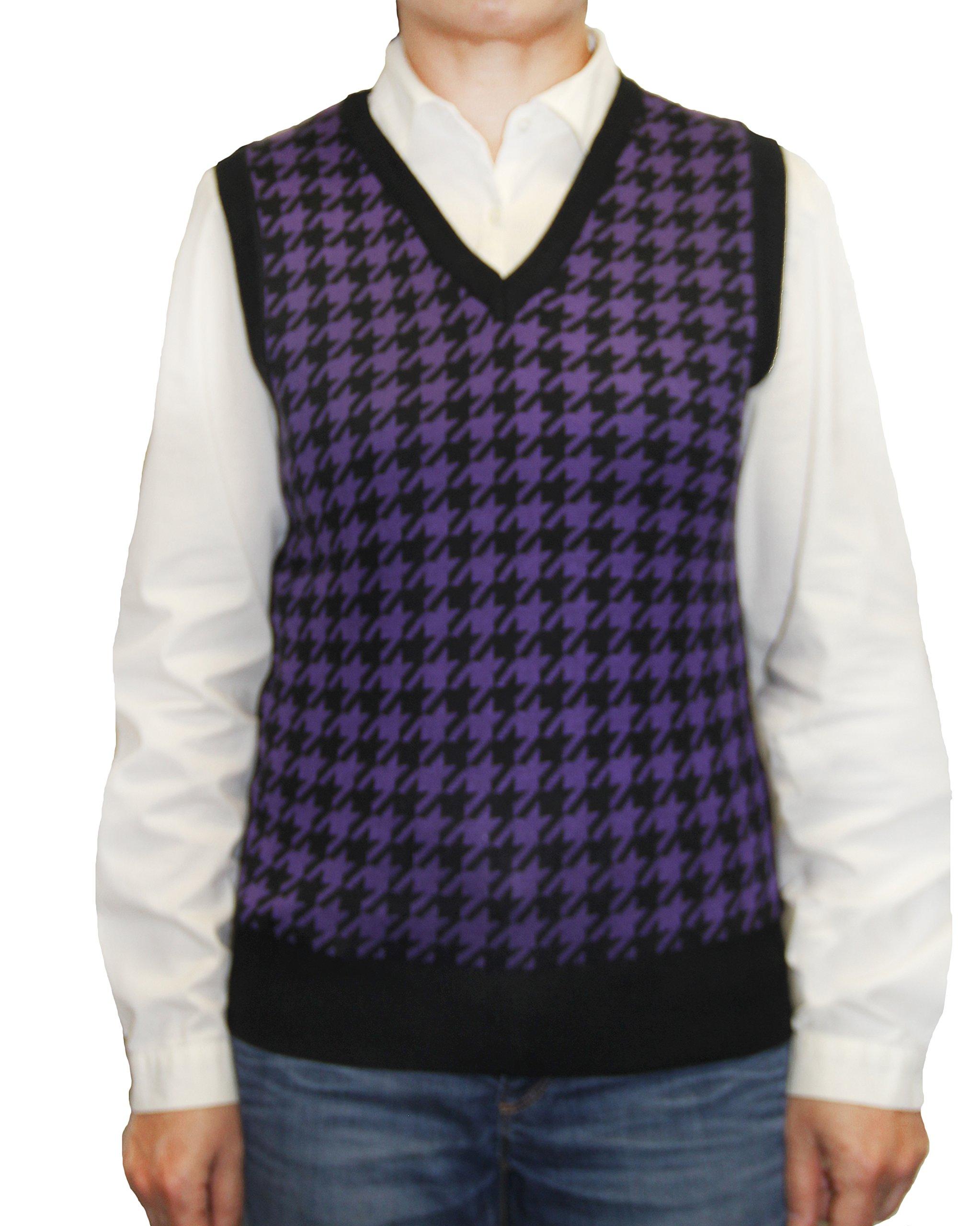 Blue Ocean Ladies Houndstooth Sweater Vest-Small