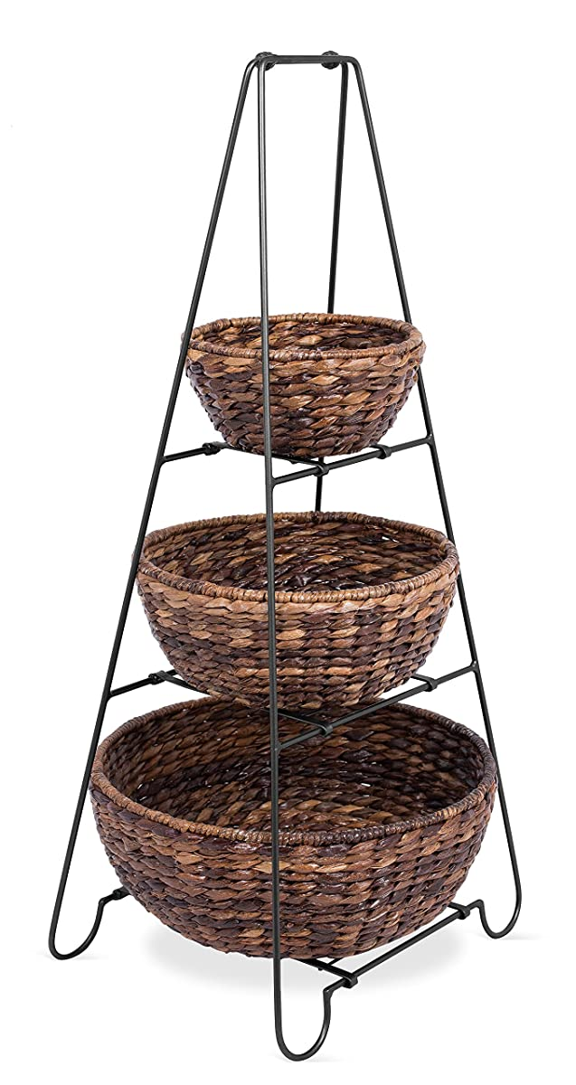 BirdRock Home 3 Tier Metal Shelf with Round Abaca Baskets | Removable Baskets | Decorative Tower | Multipurpose | Easily Stores Household Items | Natural Design