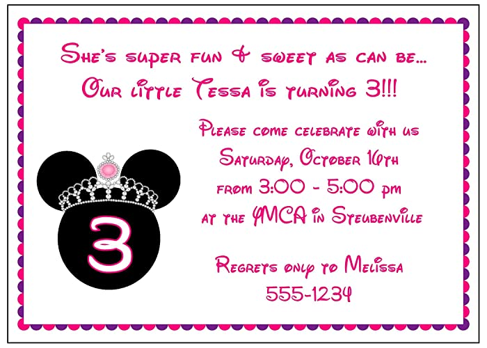 Image Unavailable Not Available For Color Set Of 10 Girl Princess Minnie Mouse Birthday Party Invitations