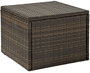 Crosley CO7202 BR Palm Harbor Outdoor Wicker Coffee Sectional Table, Brown