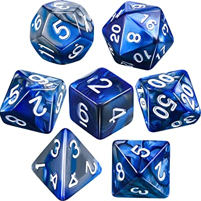 Polyhedral 7-Die Dice Set for Dungeons and Dragons with Black Pouch (Blue Silver): Toys & Games