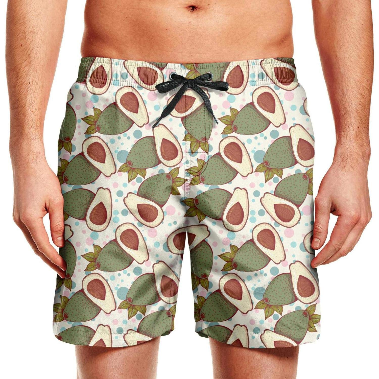 SYBING Whole and Half Avocados Gifts Mens Fashion 3D Printed Water Resistant Sports Running Beach Board Shorts