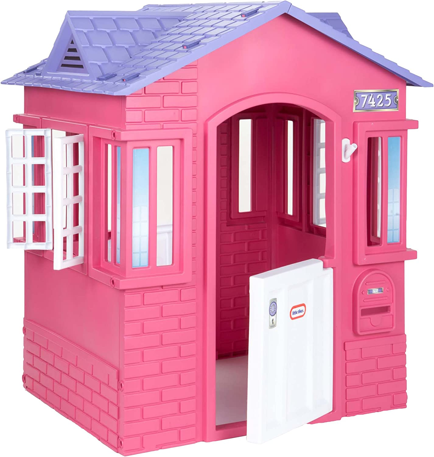 Amazon Com Little Tikes Cape Cottage House Pink With Working Doors Window Shutters Flag Holder Easy Installation Process For Kids 2 8 Years Old Toys Games