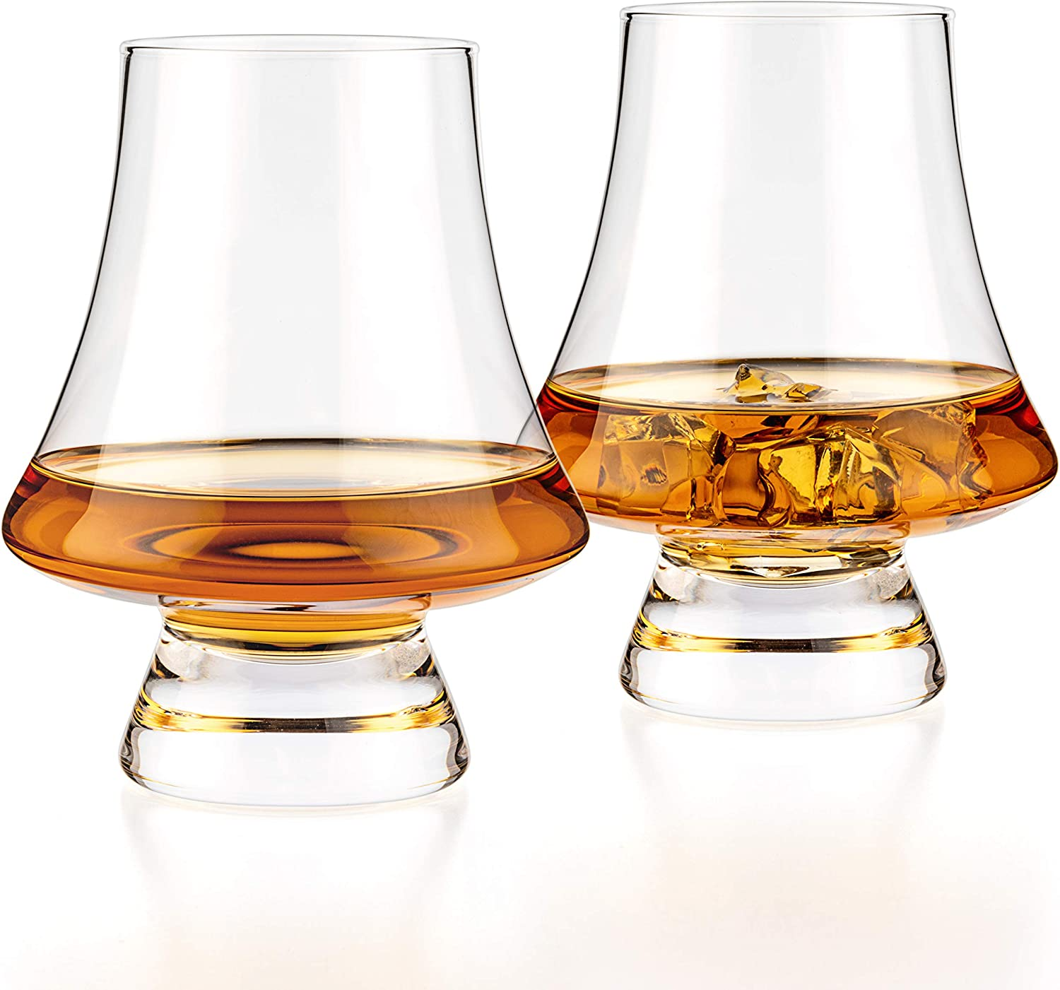 Luxbe - Bourbon Whisky Crystal Glass Snifter, Set of 2 - Narrow Rim Tasting Glasses - Handcrafted - Good for Cognac Brandy Scotch - 9-ounce/260ml