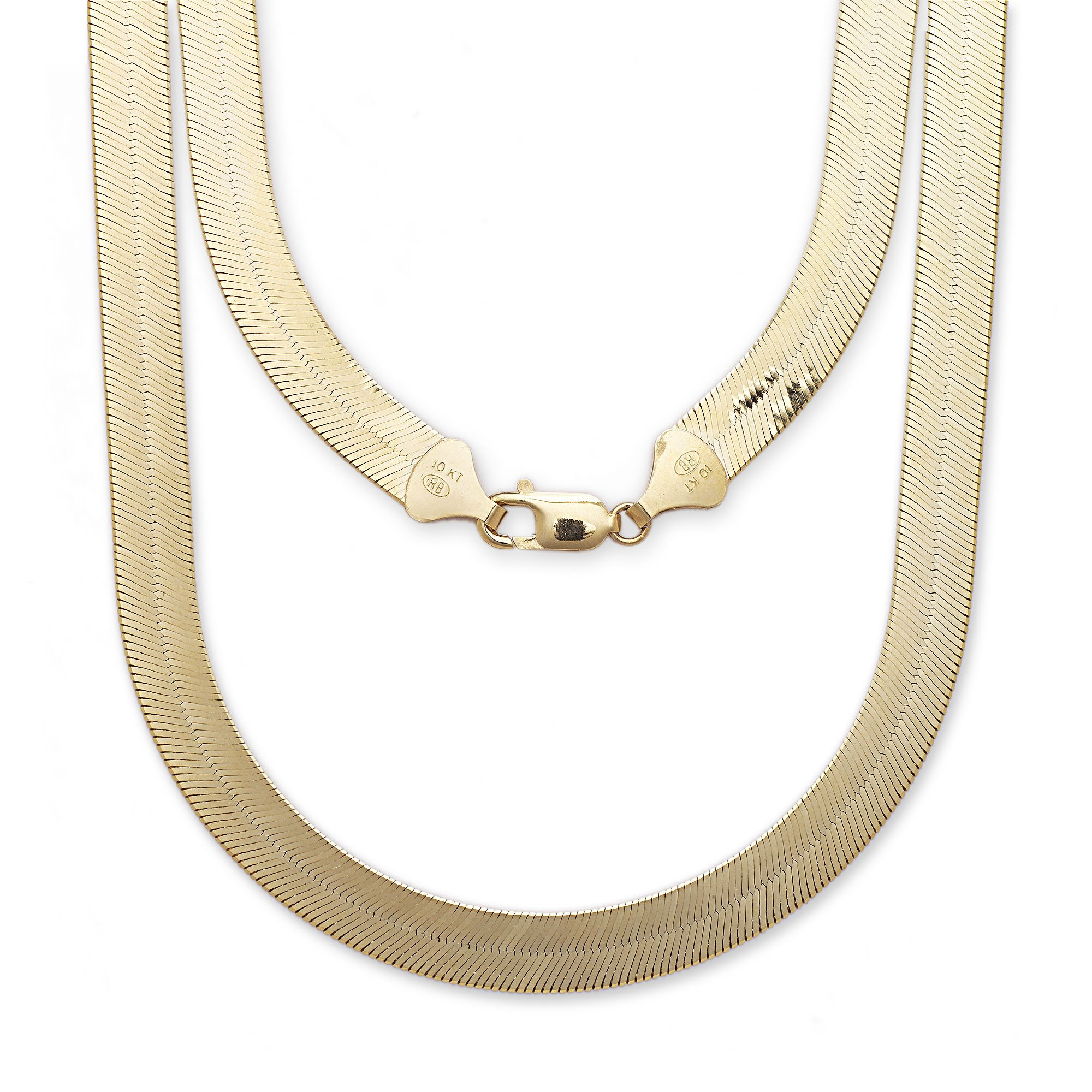 "Super Flexible Silky Herringbone Chain Necklace - 10k - 24'' - 0.5"" (12mm)"
