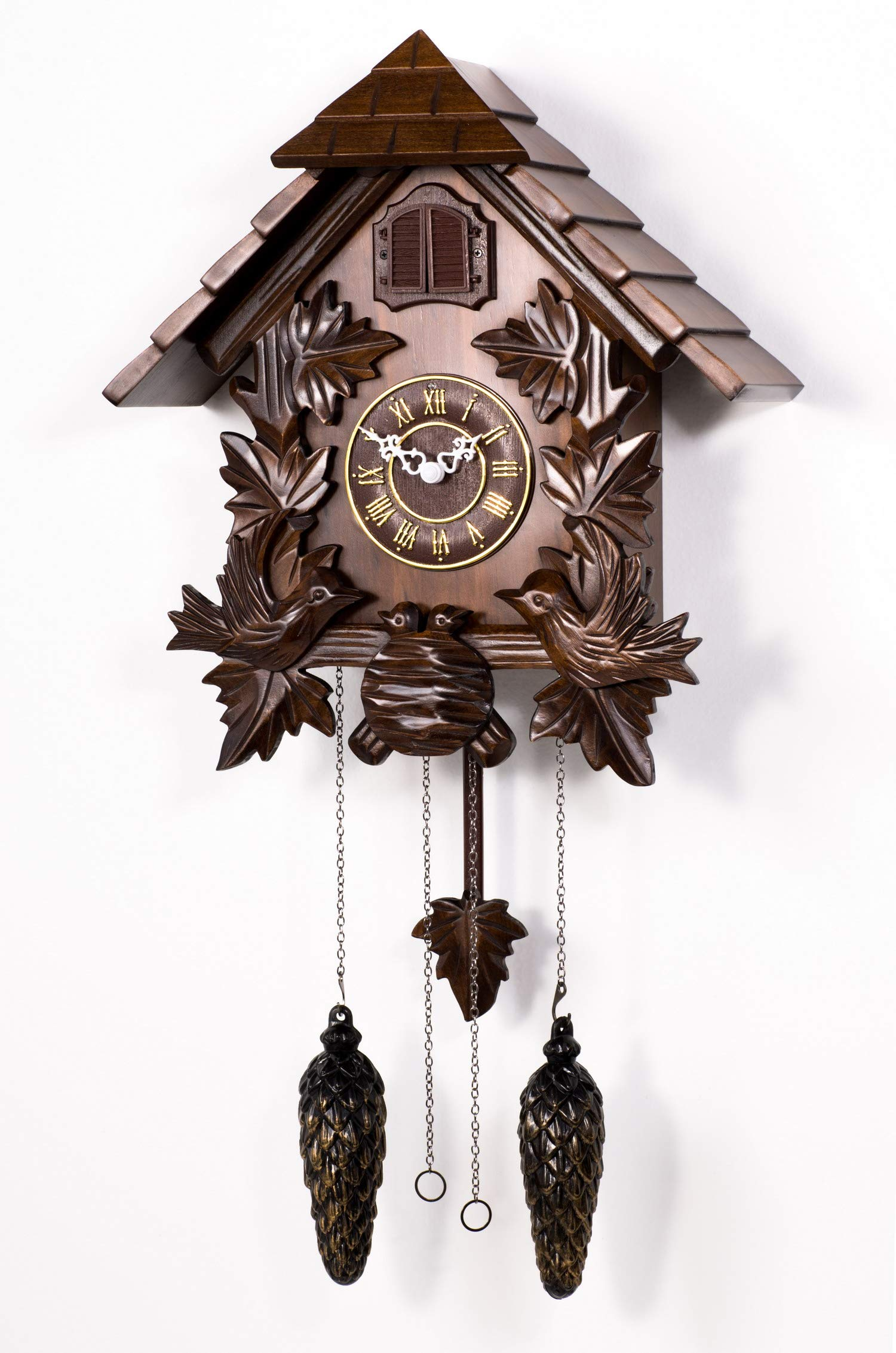 Polaris Clocks Cuckoo Wall Clock with Night Mode Option in Black Forest Style (Brown, 16'' Size)