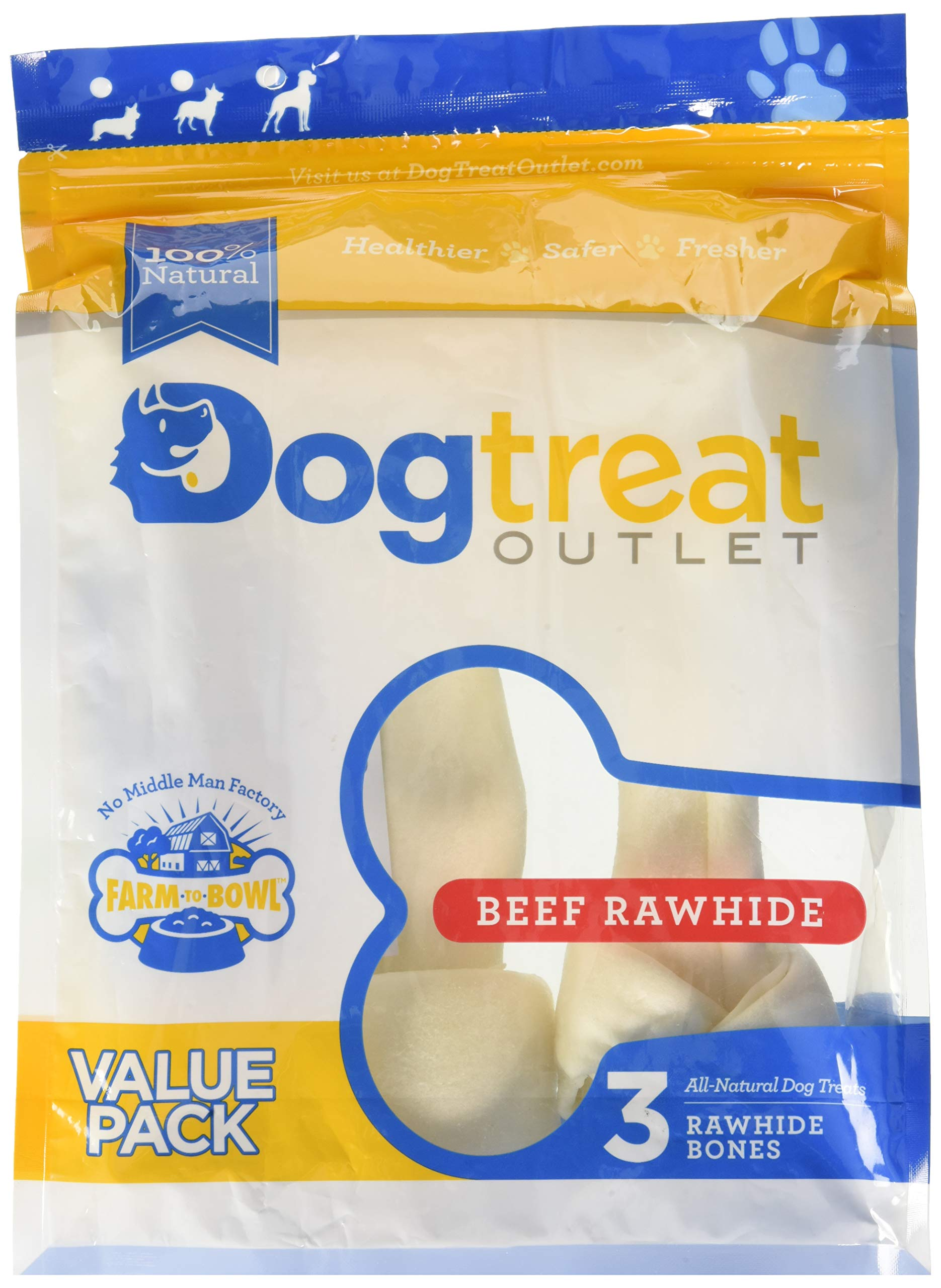 Large Sized Rawhides for Dogs, Rawhide Dog Bones are Made from Pure 100% Cattle. Long Lasting Dog Chew Designed for Aggressive Chewers Large Dogs -Dog Treat Outlet- by Dog Treat Outlet